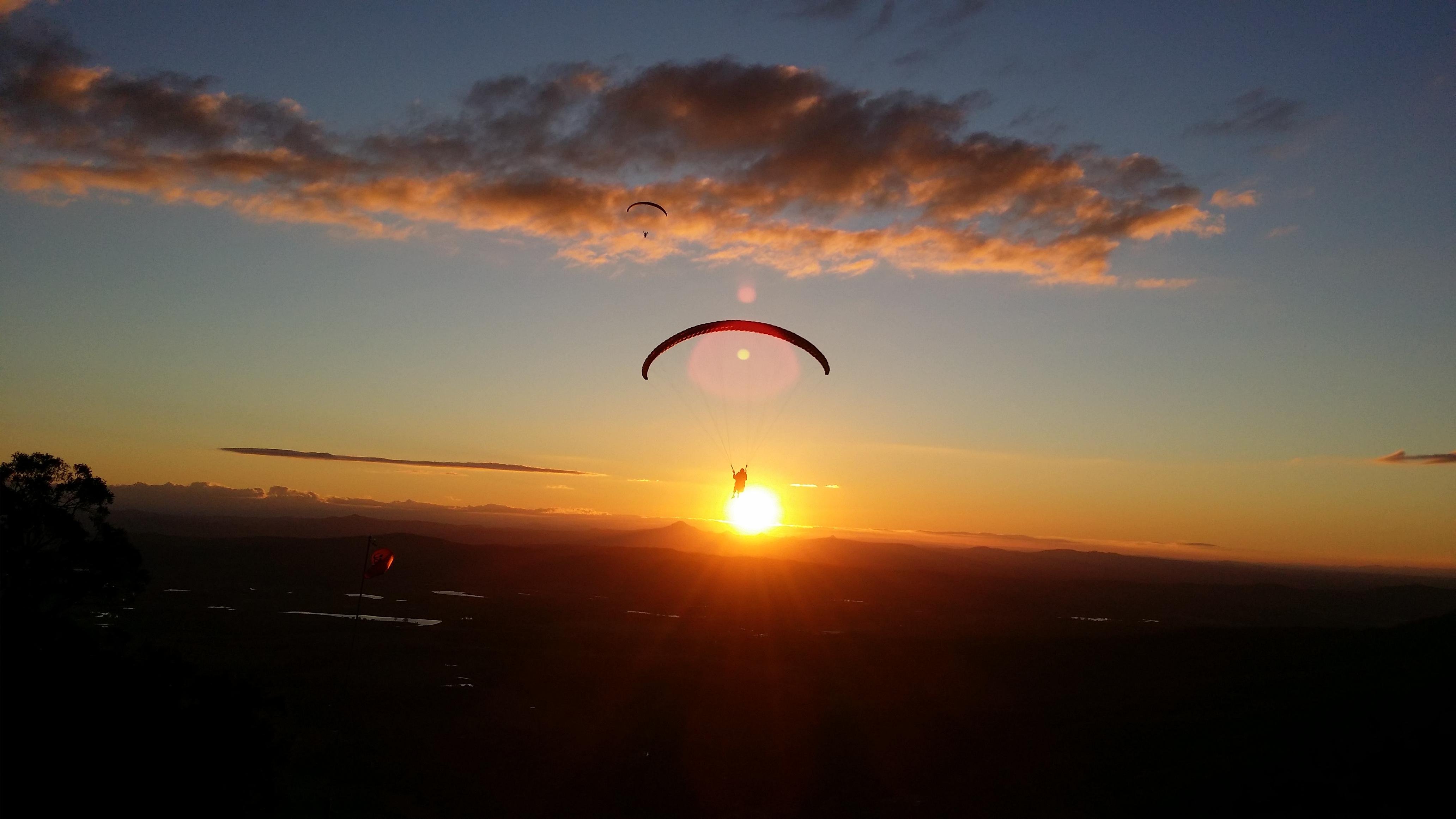 Mt Tamborine Sunset Paraglide by Dom Colvile